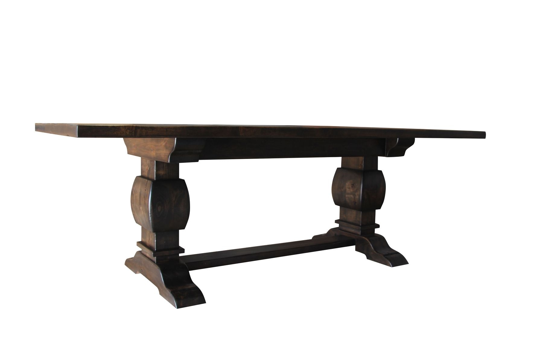 Buy A Hand Made Knotty Alder Trestle Table Espresso Finish Made To