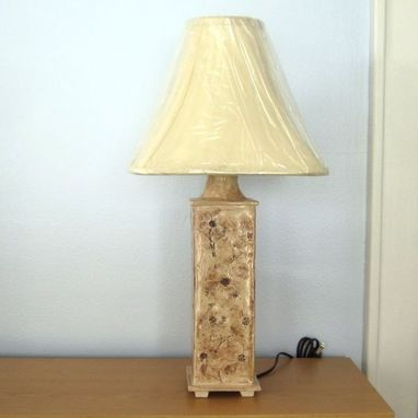 Custom Made Handmade Ceramic Table Lamp With Dogwood Flowers