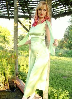 Custom Made Vintage 1920s Dress Pale Chatreuse Green Silk Charmeuse Old Hollywood Gown