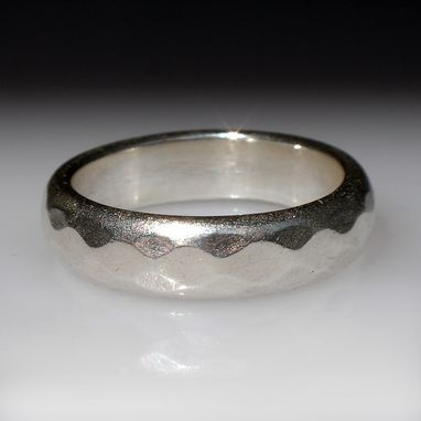 Custom Made Faceted Band Ring For Men Or Women. Silver Or Gold