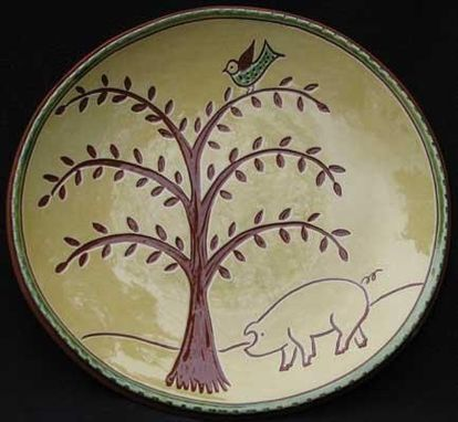 Custom Made Ceramic Plate With Tree And A Pig Underneath And Bird In Tree