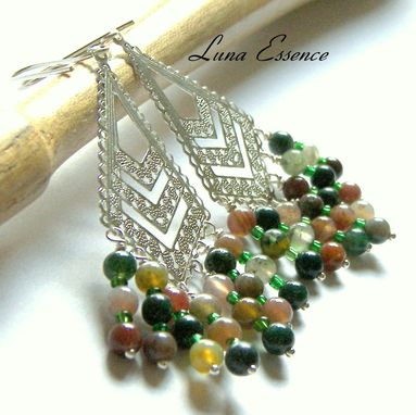 Custom Made Fancy Jasper Earrings Diamond Ss Filigree Chandelier