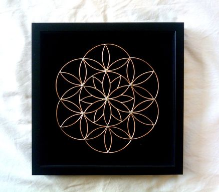 "Custom Made 5"" Egg Meets Flower Of Life Resting In Shadowbox With 4 Indigo Led's At Corners"