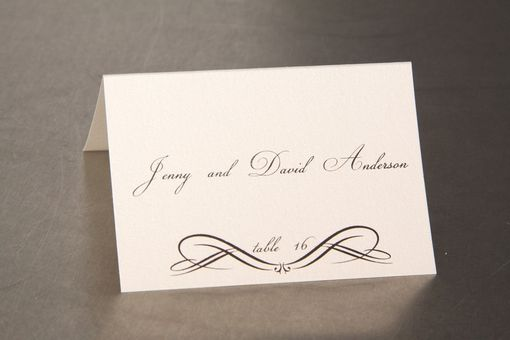 Custom Made Wedding Place Cards - Elegant Scroll Design - Escort Cards Favor Tags Custom Designed