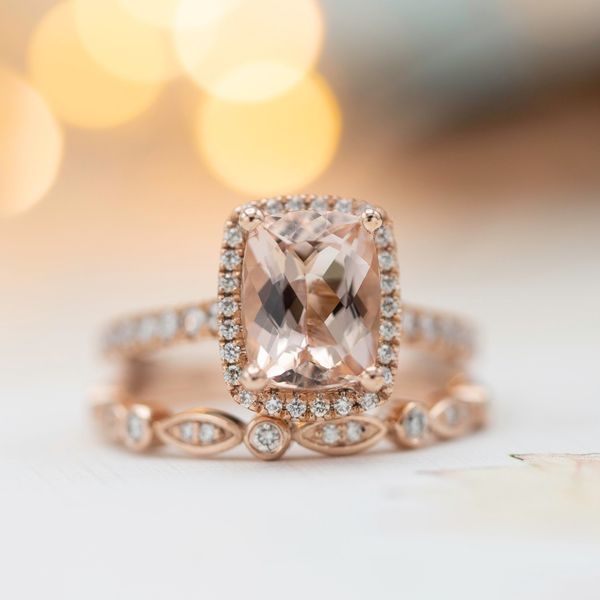 This cushion cut morganite shows excellent sparkle.