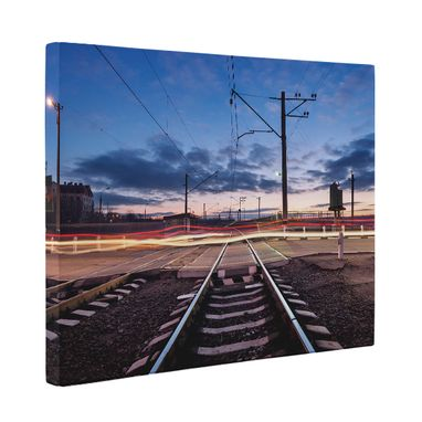Custom Made Railroad Tracks Photography Canvas Wall Art