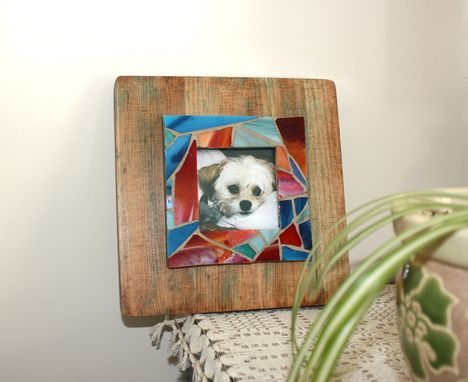Custom Made Rustic Wooden Picture Frame With Stained Glass Mosaic Border, Lulu Frame