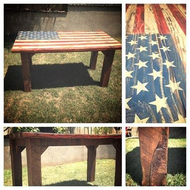 Custom Made American Flag Reclaimed Wood Table
