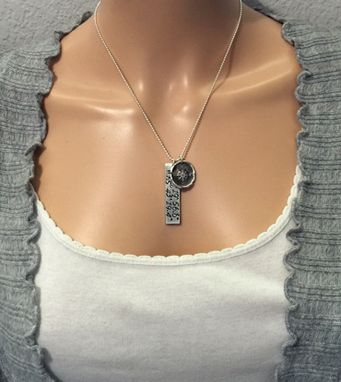 Custom Made Sterling Silver Reversible Coordinates Necklace