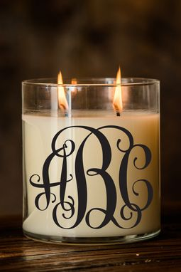 Custom Made Monogram Candle | Font: Vine | Large Creme Brulee/Vanilla Scented Candle