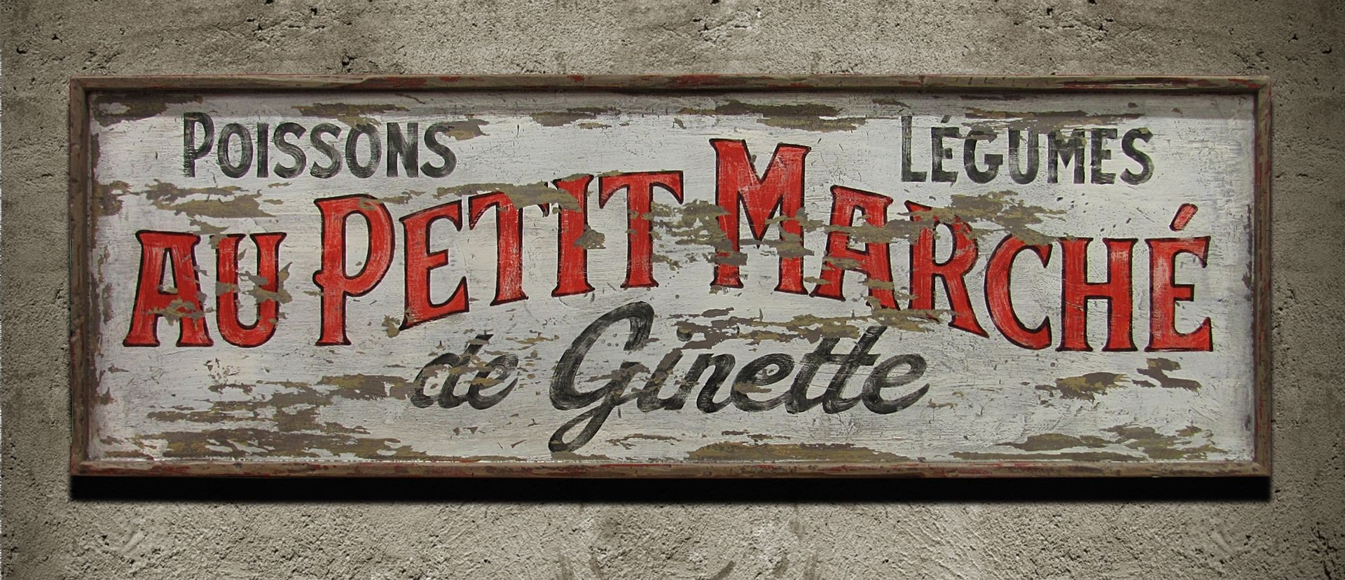 Hand Crafted Vintage Sign Art French Market By Nutmegger