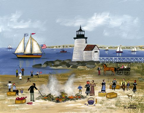 "Custom Made ""Clambake At Brant Point"" - Limited Edition Giclee Print By J.L. Munro"