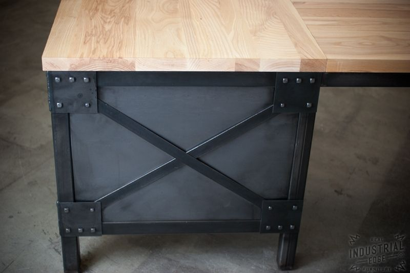 Hand Crafted Modern L Shaped Ash Top And Steel Desk, Wood Top ...