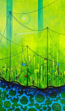 Custom Made Lime Green City Painting
