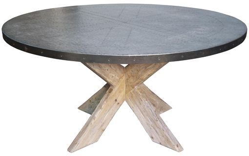 Custom Made Hayward Zinc Top Round Dining Table With X Base