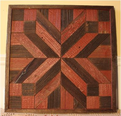 Custom Made Red X Quilt Reclaimed Wood Wall Art