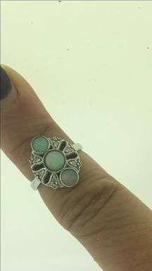 Custom Made Vintage 14k Opal And Diamond Ring