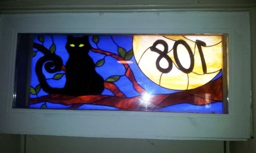"Custom Made Stained Glass Address Marker - ""Cat And The Moon"" (Am-169)"
