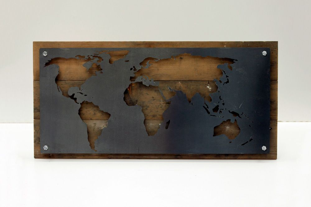 Buy a hand made reclaimed wood and metal world map wall art made to custom made reclaimed wood and metal world map wall art gumiabroncs Image collections