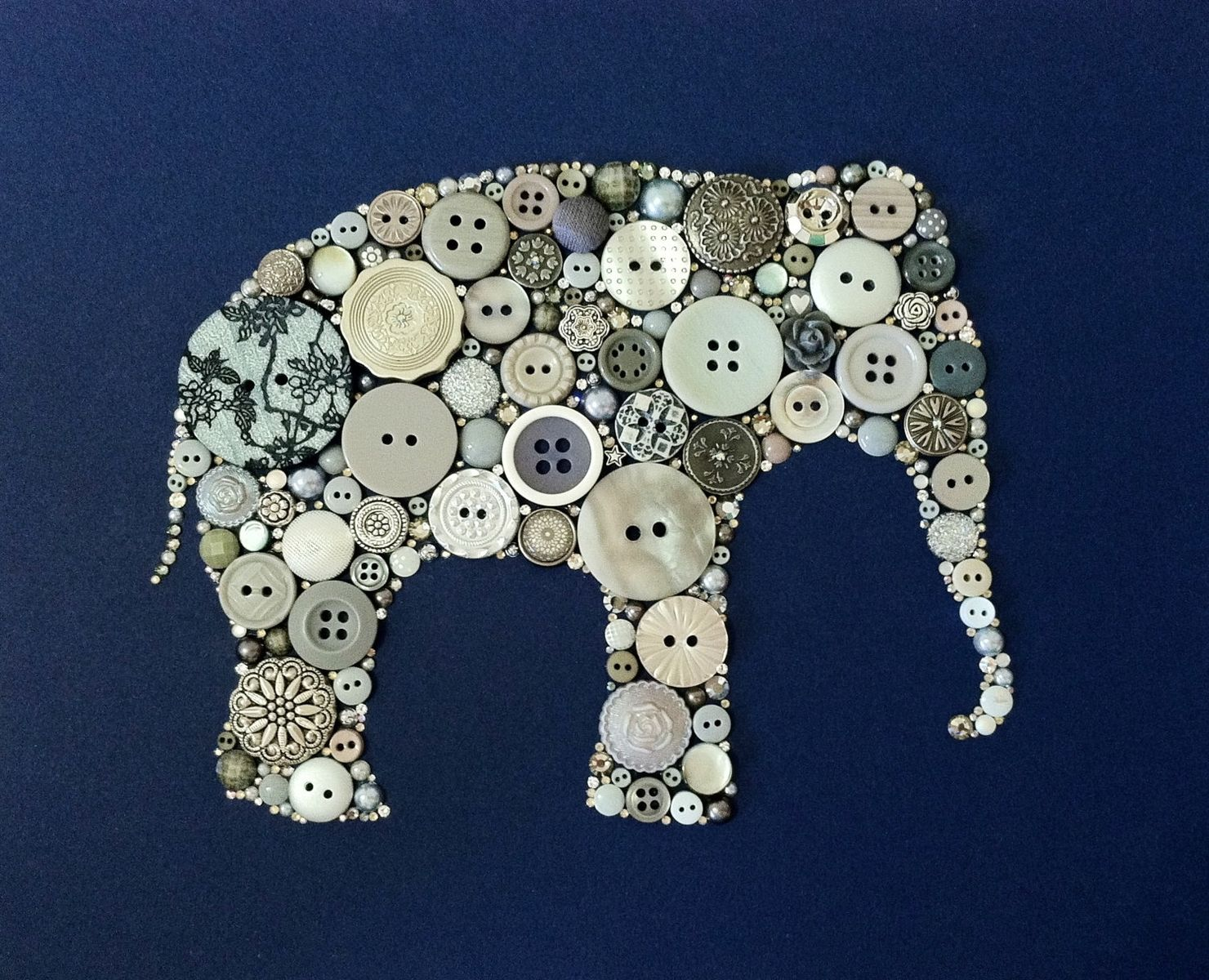Hand Crafted Elephant Button Art And Swarovski Art