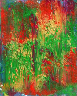 "Custom Made Abstract Acrylic Painting On White Mat ""Forest''"