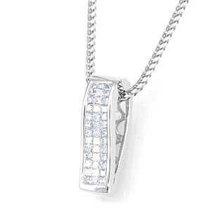 Custom Made Princess Cut Invisible Set Diamond Pendant In 14k White Gold, Diamond Pendant, Ladies Pendant,