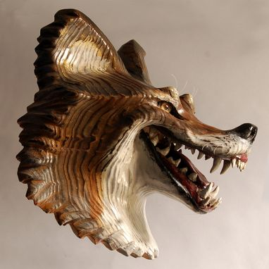 Custom Made Laughing Coyote Mask Wood Sculpture By Jason Tennant
