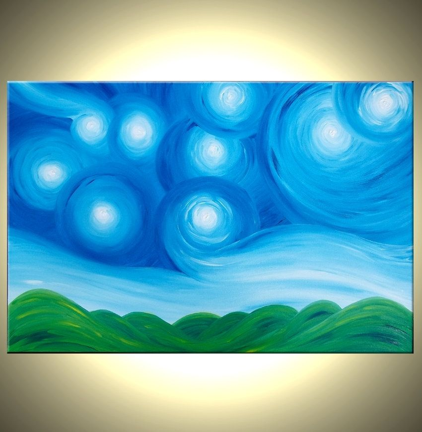Buy A Hand Made Original Acrylic Art Blue Green Painting