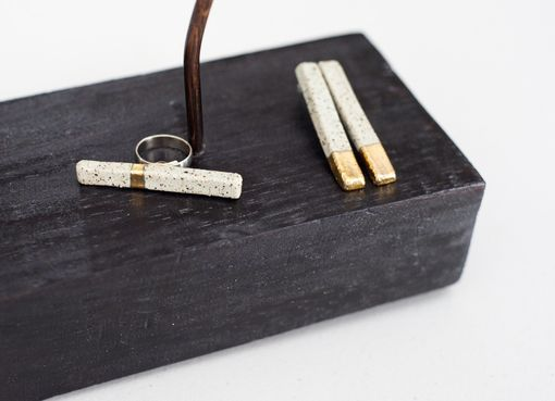 Custom Made 22k Stone-Gold Bar Ring And Dipped Earrings