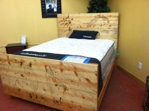 Hand Made Custom Wood Burned Bed Frame By Custom Glass Etching