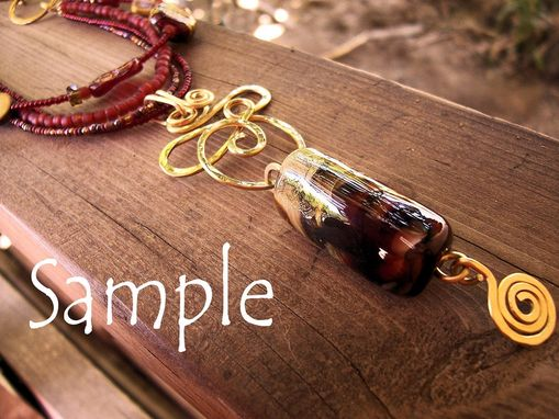 Custom Made Brass Memorial Necklace With Lampwork Glass Bead