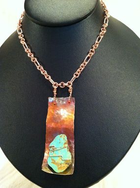 Custom Made Arizona Turquoise And Hammered Copper Necklace