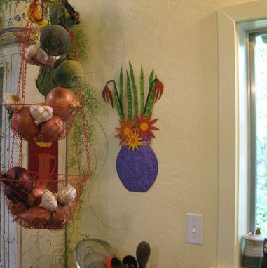 Custom Made Art Wall Sculpture - Flower Vase Metal Wall Hanging Kitchen Dining Room Art 11x21