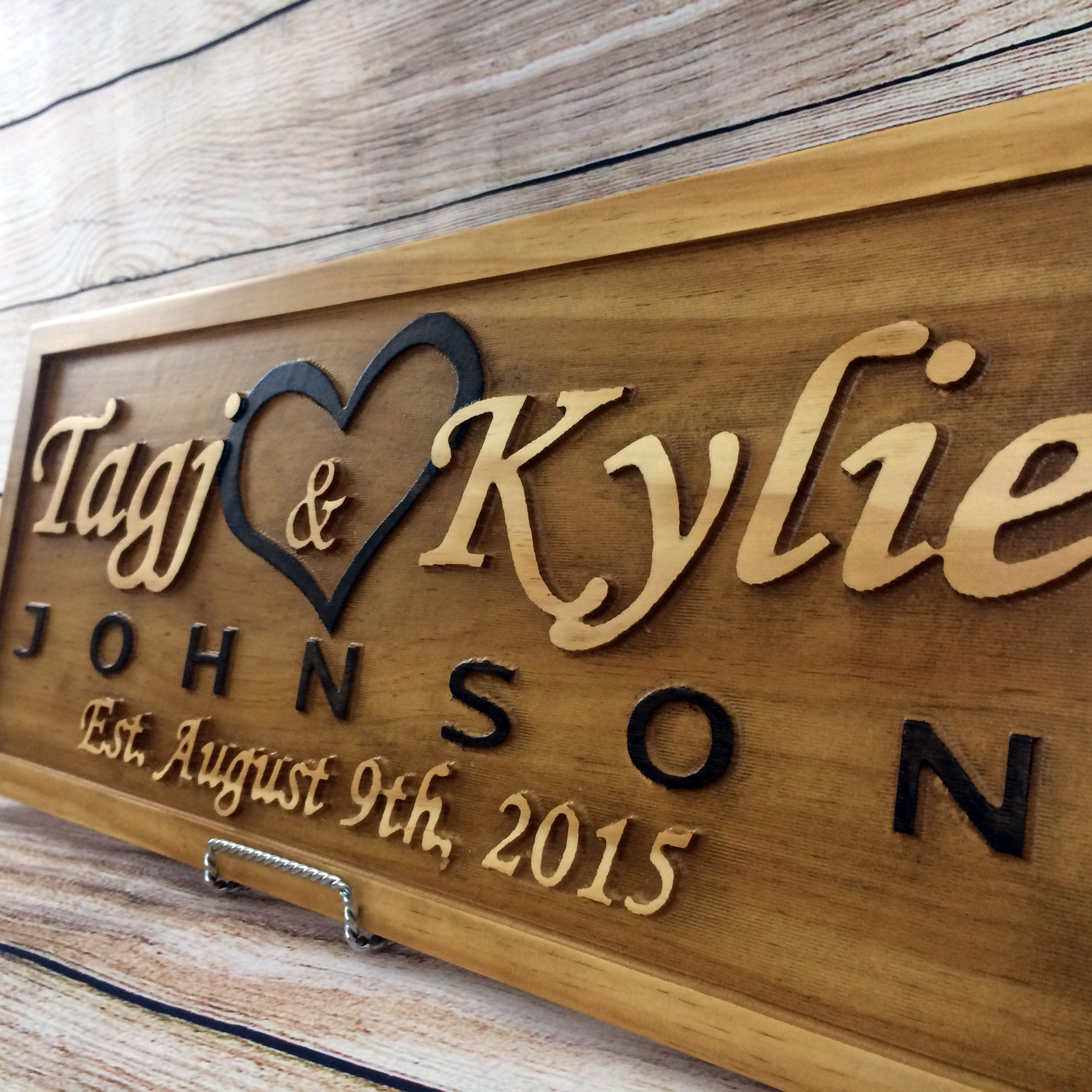 Custom Made Wedding Gift Sign Anniversary Family Name Elished Personalized Last
