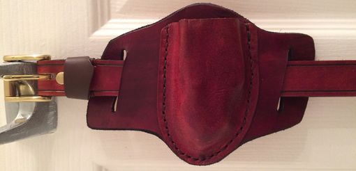 Custom Made Molded Leather Folding Knife Sheath With Matching Belt