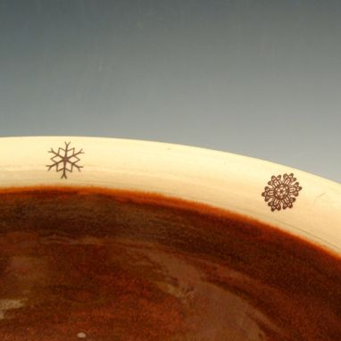 Custom Made Red And Cream Pottery Snowflake Bowl