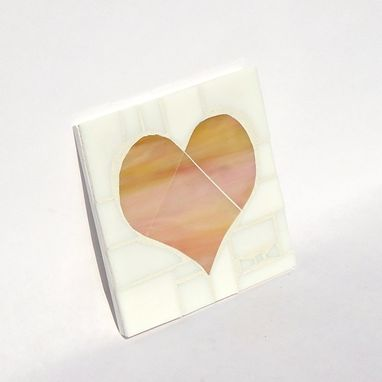 Custom Made Marbled Pink/Yellow Mosaic Heart Stained Glass Wall Hanging // Love // Heart Wall Art