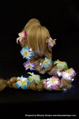 Custom Made Rapunzel Tangled Light Up Wig With Flower Barrettes In Blonde Braid Adult Costume