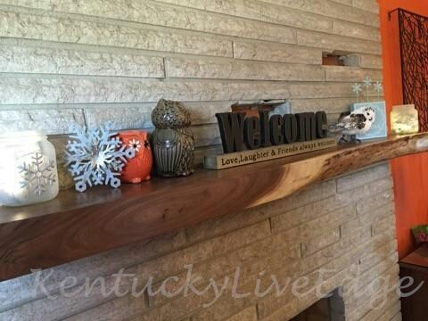 Custom Made Live Edge Walnut Mantel