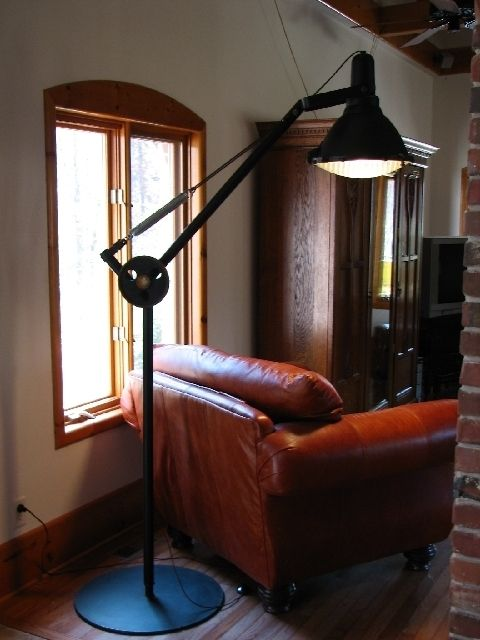 Hand Made Industrial Floor Lamp With Repurposed Explosion