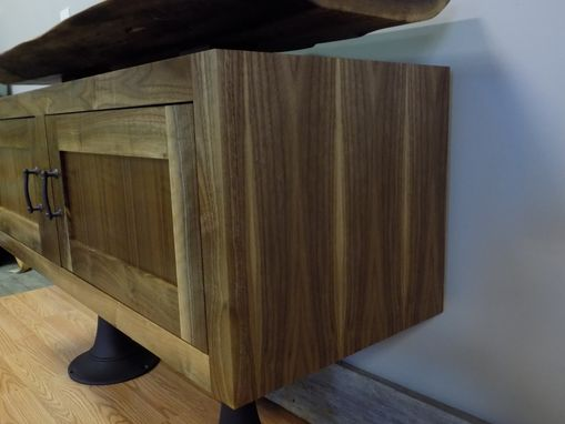 Custom Made Modern Curly Walnut Cabinet And Live Edge Floating Top