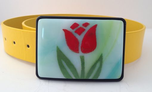 Custom Made Tulip Fused Glass Belt Buckle
