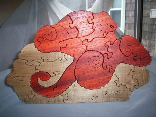 Custom Made Pauduk, Curly Maple Octopus On Rock Puzzle