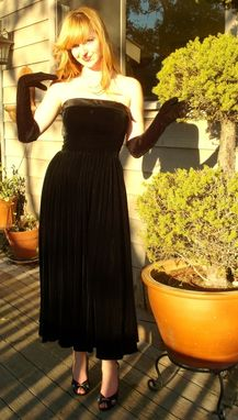 Custom Made Custom Couture Silk Velvet Vixen 1950s Strapless Full Length Gown Any Size And Color