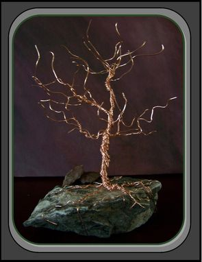Custom Made Tree Of Life Wire Art Tree Sculpture Copper Or Silver Tree On Natural Rock Base