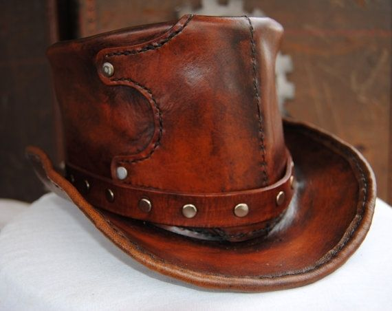 Hand Made Leather Top Hat by Airship Isabella  8dd84c2efe3