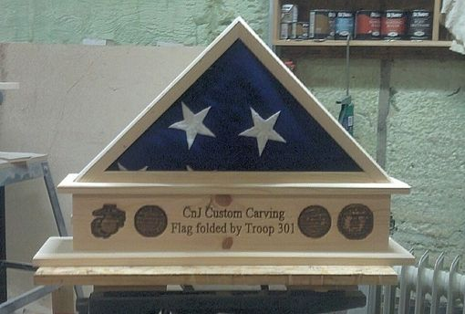 Custom Made Display Flag Case With Small Carved Pedestal