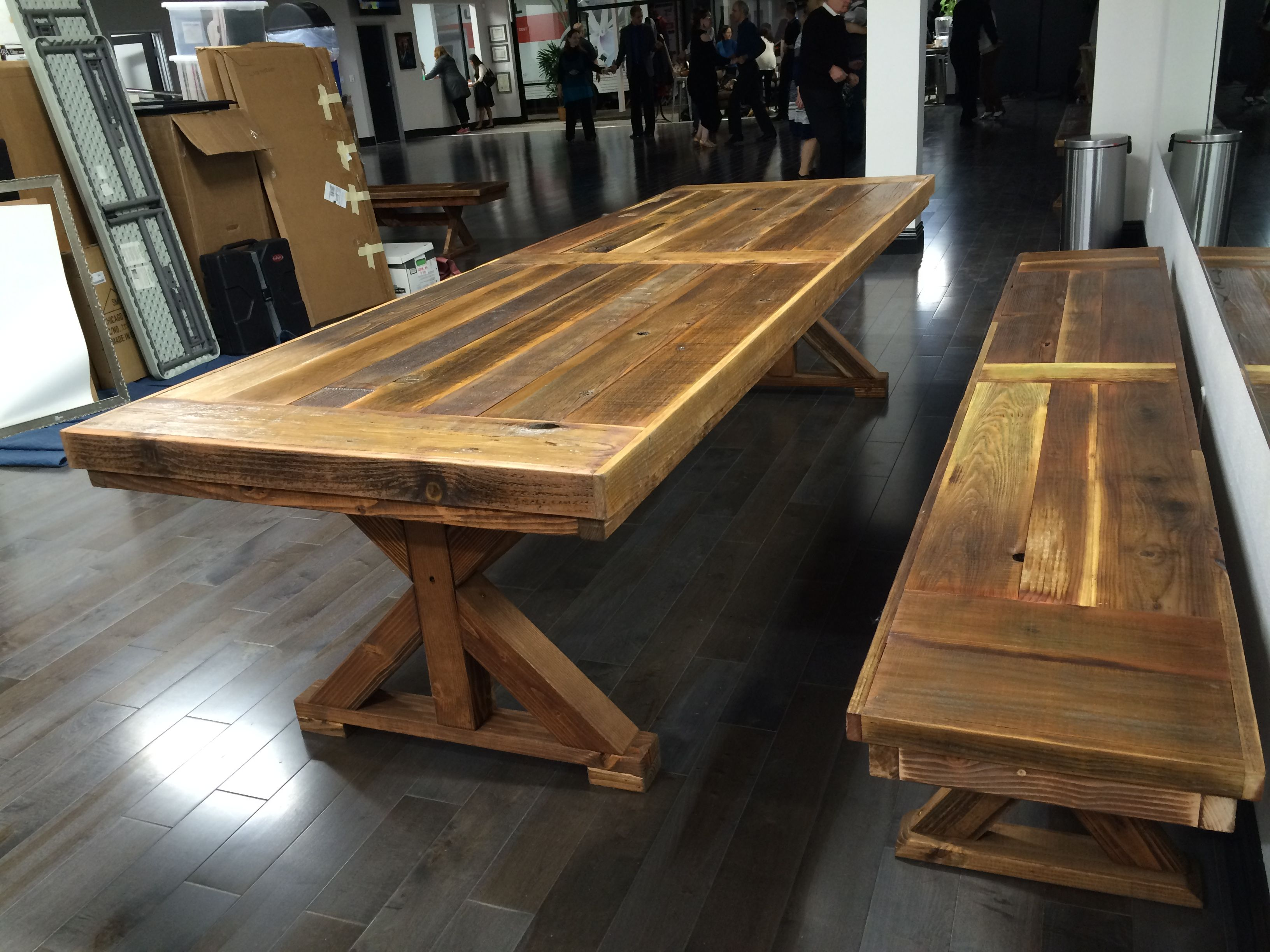Hand Crafted Reclaimed Wood Conference Communal Table