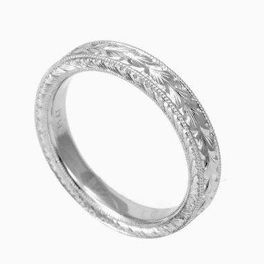 Custom Made Hand Engraved, Antique Looking 14k Wedding Band