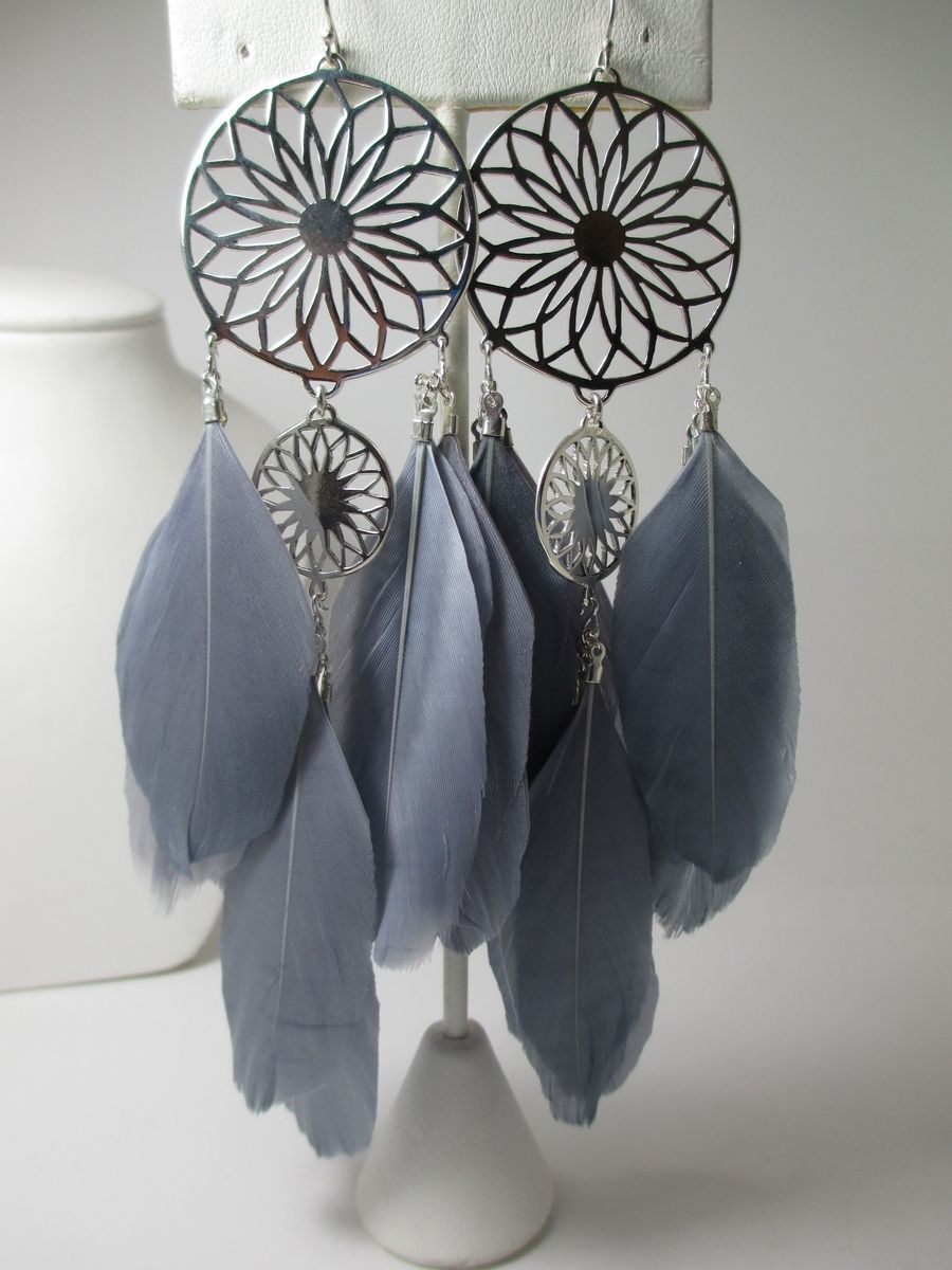 Dream Catcher Earring Holder Hand Crafted Metal And Feather Dreamcatcher Earrings by Margalita 34